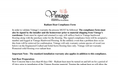 Vintage Radiant Heat Warranty